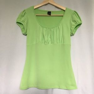 Wrapper Tops - Bright green puff sleeve peasant style top